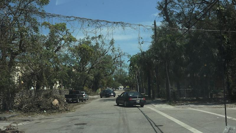 Debris drapes across a power line in Miami's Little Havana neighborhood. One of the city's poorest areas, Little Havana has been without power for nearly four days since Hurricane Irma hit South Florida over the weekend.  (Daniel Fox/HuffPost)