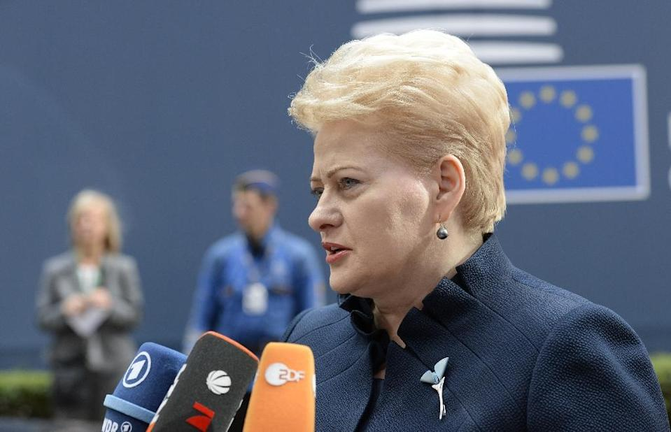 Lithuanian President Dalia Grybauskaite speaks with journalists as she arrives for an EU summit in Brussels on June 26, 2015 (AFP Photo/Thierry Charlier)