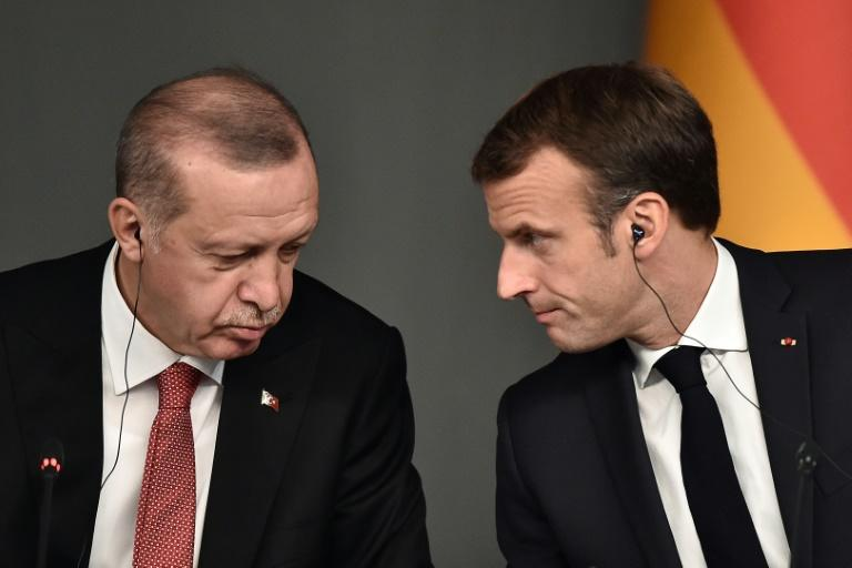 Turkish President Recep Tayyip Erdogan and French President Emmanuel Macron are sharply at odds over Ankara's offensive in neighbouring Syria