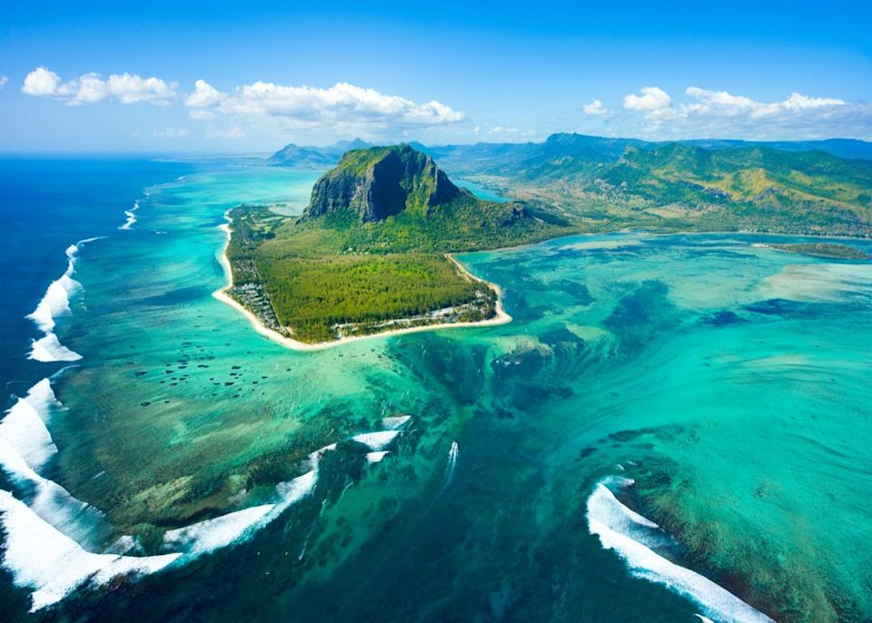 aerial and panoramic view of mauritius