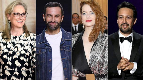 PHOTO: Meryl Streep, Nicolas Ghesquiere, Emma Stone and Lin-Manuel Miranda are the Met Gala 2020 co-chairs. (Getty Images)