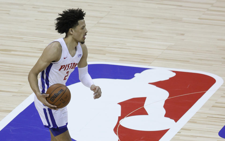 Top overall pick Cade Cunningham of the Detroit Pistons brings the ball up the court against the New York Knicks during the 2021 NBA Summer League at the Thomas & Mack Center in Las Vegas on Aug. 13, 2021. The Pistons defeated the Knicks 93-87. (Ethan Miller/Getty Images)