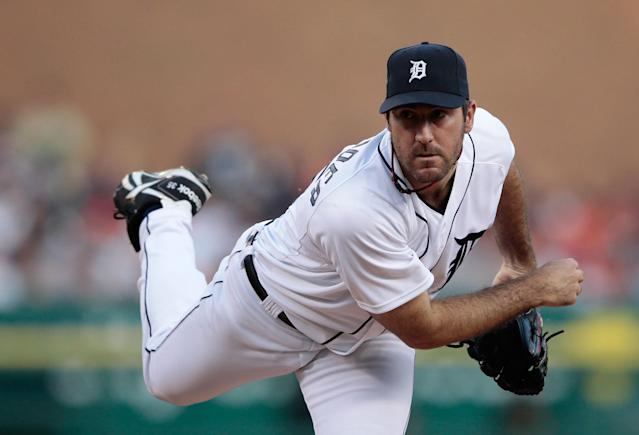 DETROIT, MI - MAY 18: Justin Verlander #35 of the Detroit Tigers pitches in the fifth inning during the game against the Pittsburgh Pirates at Comerica Park on May 18, 2012 in Detroit, Michigan. (Photo by Leon Halip/Getty Images)