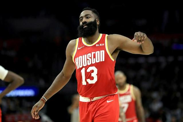 Houston Rockets star James Harden is at the center of an NBA officiating controversy after a dunk that was incorrectly disallowed in the Rockets' double-overtime loss to the San Antonio Spurs (AFP Photo/Sean M. Haffey)
