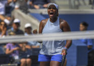 Taylor Townsend, of the United States, reacts after defeating Sorana Cirstea, of Romania, during round three of the US Open tennis championships Saturday, Aug. 31, 2019, in New York. (AP Photo/Sarah Stier)