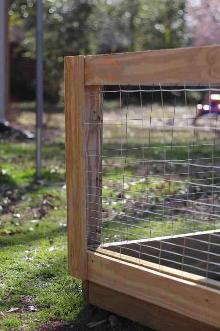 "<p>A roll of inexpensive wire fencing is dressed up with 1' x 4' wood trim to create this attractive fence around a raised bed garden. It's perfect for keeping those cute-but-pesky bunnies out of your veggies! This fence can be adapted to various heights. </p><p><strong>Get the tutorial at <a href=""https://thekitchengarten.com/diy-raised-bed-garden-fence/"" rel=""nofollow noopener"" target=""_blank"" data-ylk=""slk:The Kitchen Garten"" class=""link rapid-noclick-resp"">The Kitchen Garten</a>.</strong></p><p><a class=""link rapid-noclick-resp"" href=""https://go.redirectingat.com?id=74968X1596630&url=https%3A%2F%2Fwww.homedepot.com%2Fp%2FEverbilt-5-ft-x-50-ft-14-Gauge-Galvanized-Steel-Welded-Wire-Garden-Fence-308303EB%2F205708553&sref=https%3A%2F%2Fwww.thepioneerwoman.com%2Fhome-lifestyle%2Fgardening%2Fg32651791%2Fdecorative-garden-fence-ideas%2F"" rel=""nofollow noopener"" target=""_blank"" data-ylk=""slk:SHOP WIRE FENCE ROLLS"">SHOP WIRE FENCE ROLLS</a></p>"