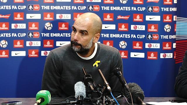 Pep Guardiola tells reporters he didn't see the incident involving Sergio Aguero and a Wigan Athletic fan, when pressed by reporters for comment.