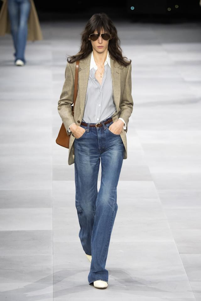 <p>Celine really leaned into the 1970s vibe, giving off that elegant and tailored look by way of a more casual denim staple.</p>