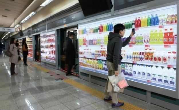 South Korean supermarket chain opens virtual grocery stores in subways