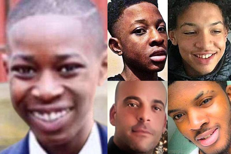Five killed: (Clockwise from left) A boy named only as John, 16, Malcolm Mide-Madariola, Jay Hughes, Ayodeji Habeeb Azeez, and Rocky Djelal