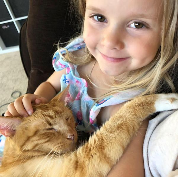 Bailey the 14-year-old cat went viral after his owner shared videos of her daughter reading and singing to the feline