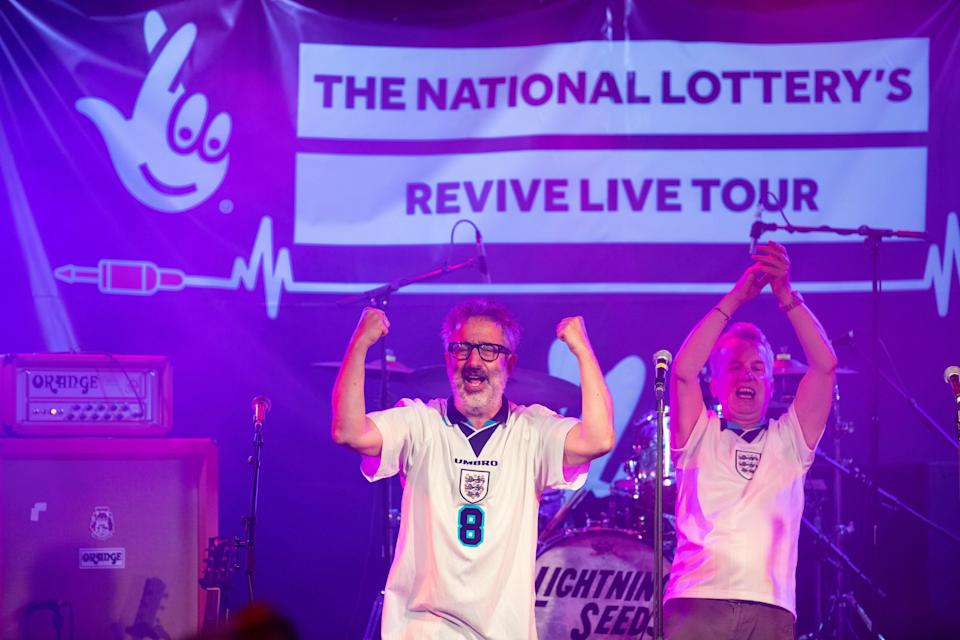 David Baddiel, Frank Skinner and Lighting Seeds perform their song Three Lions' at a special gig for England fans ahead of the Euro 2020 final (David Parry/PA) (PA Wire)