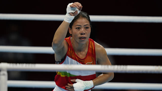 Indian boxer MC Mary Kom began her journey in Tokyo on a happy note as she beat her rival Miguelina Hernandez by 4:1 split decision. AP