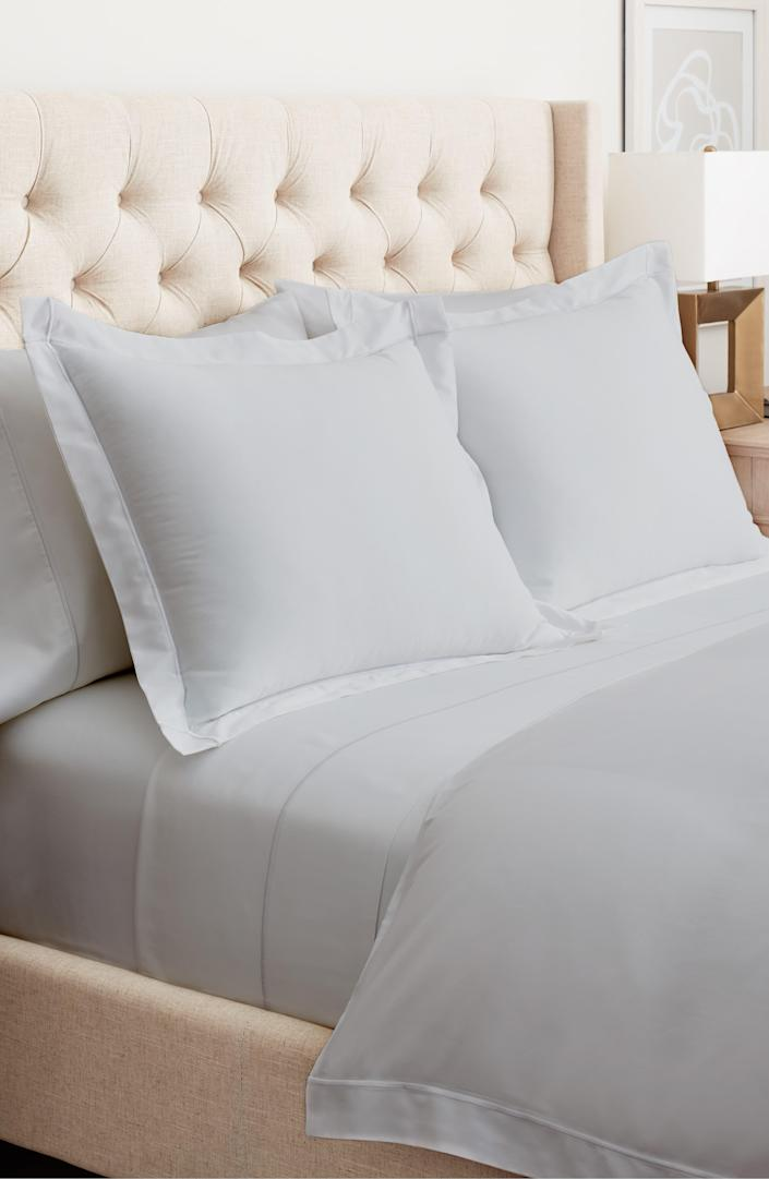 """We're big fans of the organic bedding at Boll & Branch, and this beautifully constructed set hits all the marks for style. $330, Nordstrom. <a href=""""https://www.nordstrom.com/s/boll-branch-embroidered-duvet-cover-sham-set/5612722"""" rel=""""nofollow noopener"""" target=""""_blank"""" data-ylk=""""slk:Get it now!"""" class=""""link rapid-noclick-resp"""">Get it now!</a>"""