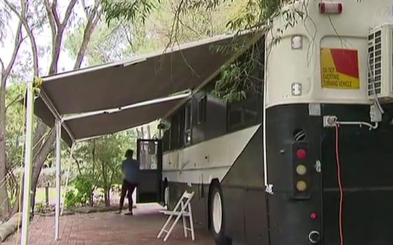 Mum-of-two Tegan Latham converted an old bus into a home for her family - Today Tonight