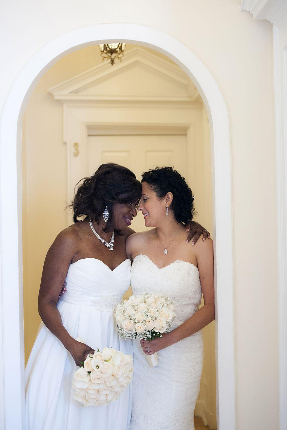 <p>The camera caught an intimate moment between Karen and Beverley on their wedding day on September 12, 2015.</p>