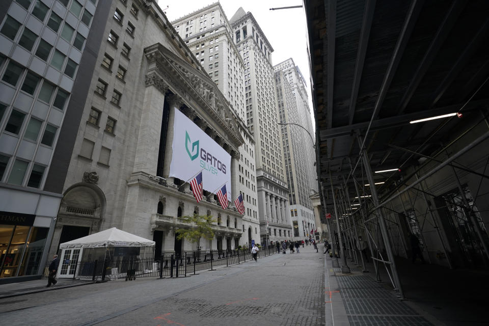 The New York Stock Exchange is seen, Wednesday, Oct. 28, 2020, in New York. The Dow Jones Industrial Average dropped 943 points Wednesday as surging coronavirus cases in the U.S. and Europe threaten more business shutdowns and pain for the economy. (AP Photo/Mary Altaffer)