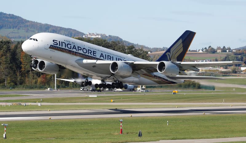 FILE PHOTO: Airbus A380-800 aircraft of Singapore Airlines takes off from Zurich airport