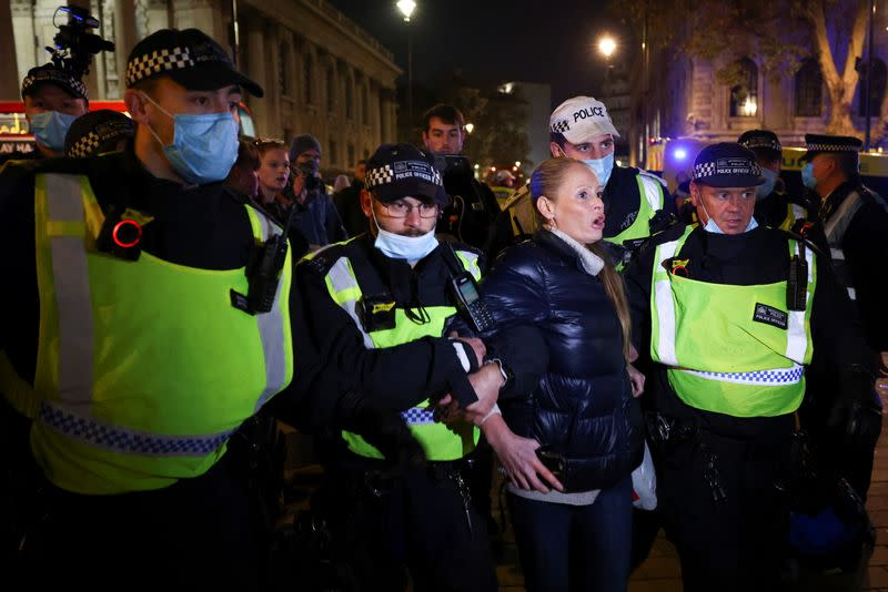 Protestors from the Million Mask March and anti lockdown protesters demonstrate in London