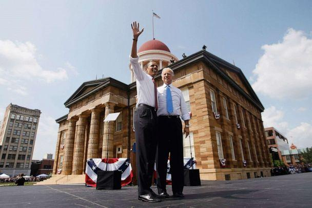 PHOTO: Presumptive Democratic presidential candidate Sen. Barack Obama takes to the stage with his vice presidential pick Sen. Joe Biden at the Old State Capitol, Aug. 23, 2008 in Springfield, Ill. (Joe Raedle/Getty Images)