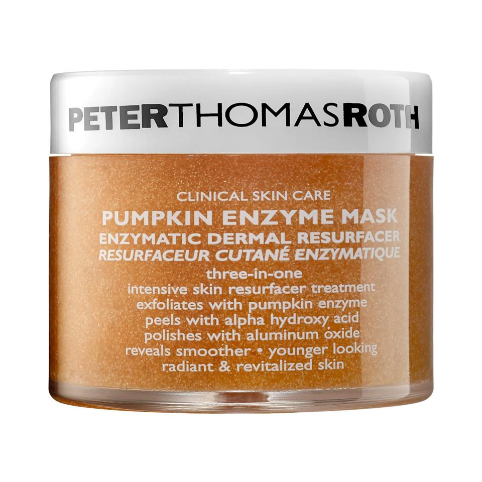 "<p>One of the most popular pumpkin skin-care products of all time, the Peter Thomas Roth Pumpkin Enzyme Mask is rich in pumpkin puree and enzymes (which brighten and resurface skin), while <a href=""https://www.allure.com/gallery/get-brighter-skin-vitamin-c?mbid=synd_yahoo_rss"" rel=""nofollow noopener"" target=""_blank"" data-ylk=""slk:vitamins C"" class=""link rapid-noclick-resp"">vitamins C</a> and E fight free radicals and ward off fine lines and dullness.</p> <p><strong>$60</strong> (<a href=""https://shop-links.co/1652523617363911421"" rel=""nofollow noopener"" target=""_blank"" data-ylk=""slk:Shop Now"" class=""link rapid-noclick-resp"">Shop Now</a>)</p>"