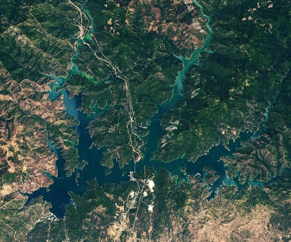 Shasta Lake in California, pictured in 2019 in more normal conditions. (NASA)