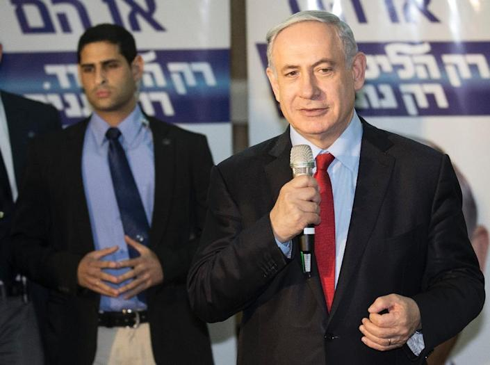 Israeli Prime Minister and Likud party's candidate running for general elections, Benjamin Netanyahu, giving a speech to his supporters during an election campaign meeting in the city of Netanya, on March 11, 2015 (AFP Photo/Jack Guez)