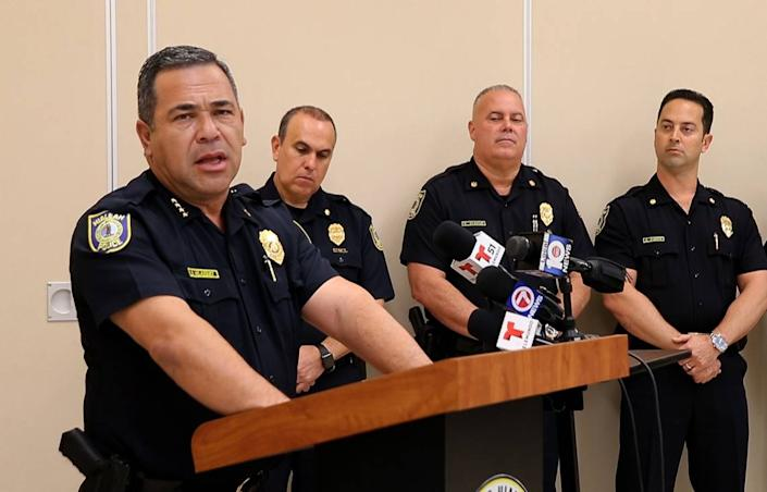 Hialeah Police Chief Sergio Velázquez talked about his department's actions in the case of Sgt. Jesús Manuel Menocal Jr, 32, who was arrested after a federal grand jury in Miami, Florida, returned a two-count indictment against him for depriving two women of their civil rights. The news conference took place on Friday, December 13, 2019.