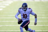 Chicago Bears quarterback Mitchell Trubisky runs for a touchdown against the Jacksonville Jaguars during the second half of an NFL football game, Sunday, Dec. 27, 2020, in Jacksonville, Fla. (AP Photo/Stephen B. Morton)