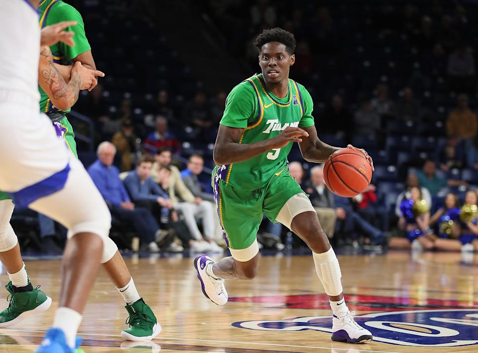 Tulane Green Wave Guard Teshaun Hightower (5) dribbles during a college basketball game between the Tulsa Golden Hurricane and the Tulane Green Wave on February 25, 2020, at the Reynolds Center in Tulsa, OK.  (Photo by David Stacy/Icon Sportswire via Getty Images)