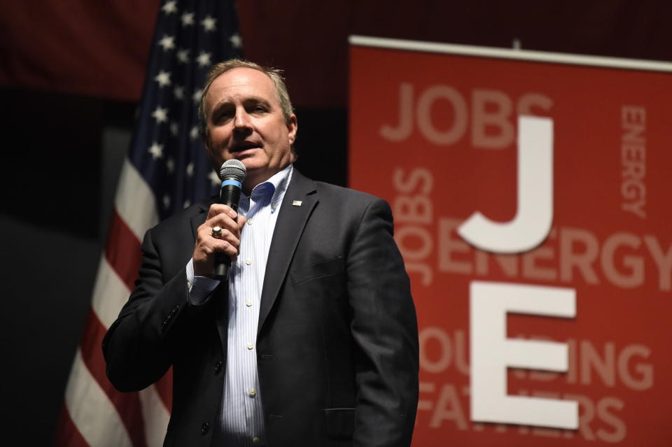 U.S. Rep. Jeff Duncan speaks at his annual Faith and Freedom BBQ fundraiser, Monday, Aug. 26, 2019, in Anderson, S.C. (AP Photo/Meg Kinnard)
