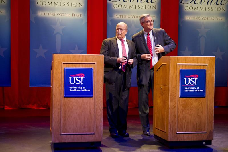 Democrat John Gregg, Republican Lt. Gov. Eric Holcomb participate in a debate for Indiana governor at the University of Southern Indiana in Evansville, Tuesday, Oct. 25, 2016. (Photo/Alex Slitz, Pool/AP)