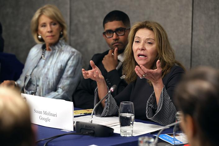 WASHINGTON, DC - JANUARY 25: Google Vice President for Public Policy and former congresswoman Susan Molinari (R) participates in an education round table with U.S. Education Secretary Betsy DeVos (L) and Vikrum Aiyer of Postmates during the U.S. Conference of Mayors 86th annual Winter Meeting at the Capitol Hilton January 25, 2018 in Washington, DC.