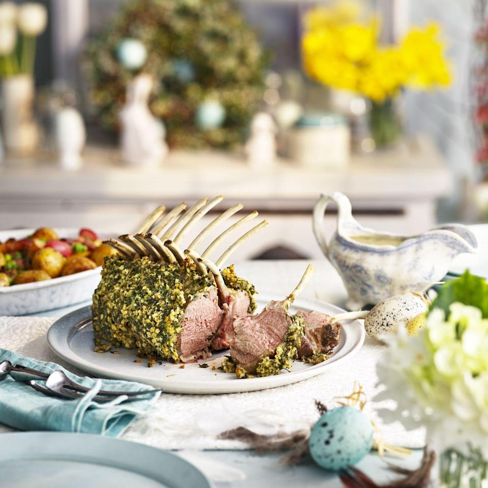 """<p>Crumbed Lamb Guard of Honour with Quick Mint Gravy: Lamb racks are typically sold with 8 bones, so we've kept them whole (rather than trimming to 2 x 6 bone racks). So some lucky guests will get 3 cutlets each.</p><p><strong>Recipe: <a href=""""https://www.goodhousekeeping.com/uk/food/recipes/a33298251/crumbed-lamb-guard-honour/"""" rel=""""nofollow noopener"""" target=""""_blank"""" data-ylk=""""slk:Crumbed Lamb Guard of Honour with Quick Mint Gravy"""" class=""""link rapid-noclick-resp"""">Crumbed Lamb Guard of Honour with Quick Mint Gravy</a></strong></p>"""