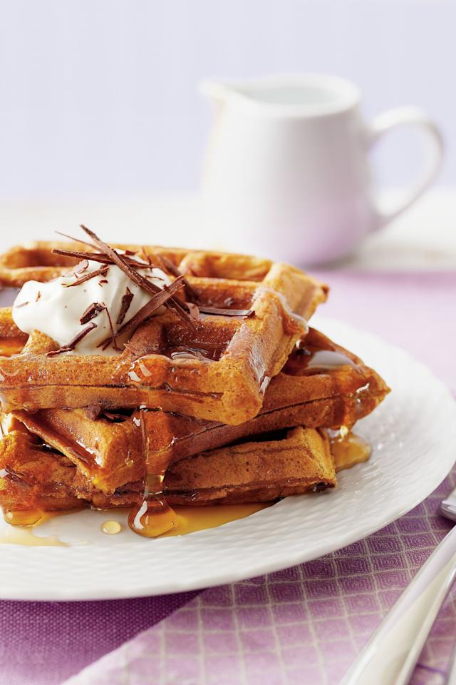 """<p>These upgraded waffles are just as easy to make as plain ones. If you don't have a waffle iron, just pour the batter in a lightly buttered nonstick skillet for tasty pancakes.</p> <ul><li><strong>Recipe:</strong> <a href=""""http://www.myrecipes.com/recipe/pumpkin-chocolate-waffles-50400000124127/"""" target=""""_blank"""">Pumpkin-Chocolate Waffles</a></li> </ul>"""