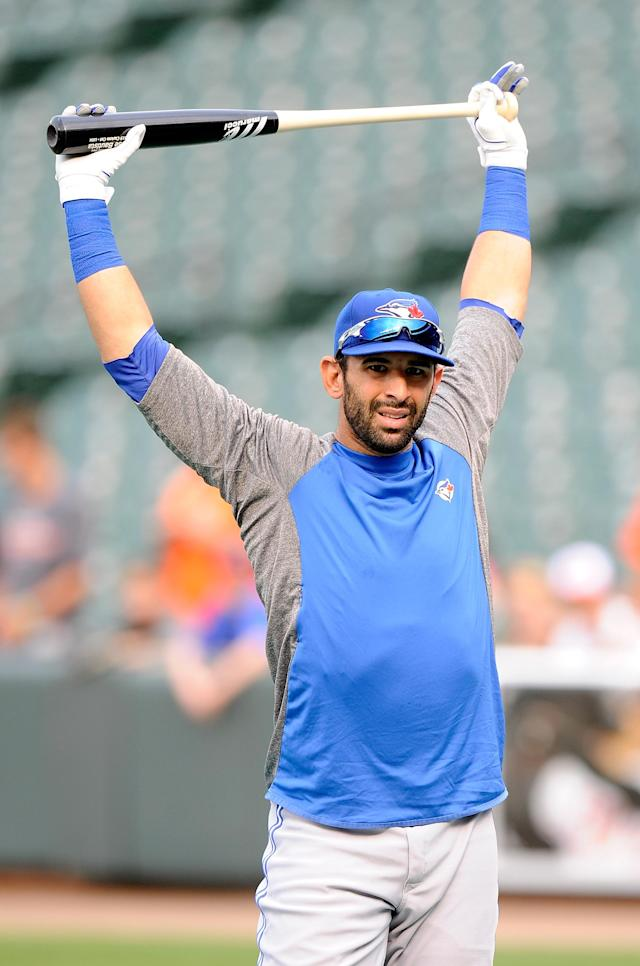 BALTIMORE, MD - AUGUST 24: Jose Bautista #19 of the Toronto Blue Jays warms up before the game against the Baltimore Orioles at Oriole Park at Camden Yards on August 24, 2012 in Baltimore, Maryland. (Photo by Greg Fiume/Getty Images)