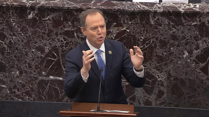 House impeachment manager Rep. Adam Schiff, D-Calif., answers a question during the impeachment trial against President Donald Trump in the Senate at the U.S. Capitol in Washington, Thursday, Jan. 30 2020. (Senate Television via AP)