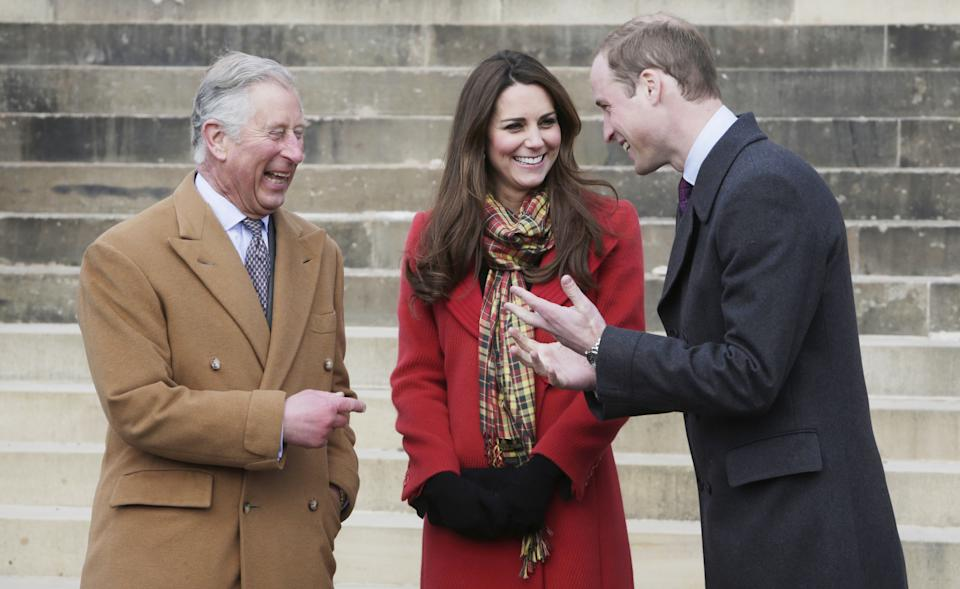 AYRSHIRE, UNITED KINGDOM- MARCH 05: Prince Charles, Prince of Wales, known as the Duke of Rothesay, Catherine, Duchess of Cambridge, known as the Countess of Strathearn, and Prince William, Duke of Cambridge, known as the Earl of Strathearn, when in Scotland during a visit to Dumfries House on March 05, 2013 in Ayrshire, Scotland. The Duke and Duchess of Cambridge braved the bitter cold to attend the opening of an outdoor centre in Scotland today. The couple joined the Prince of Wales at Dumfries House in Ayrshire where Charles has led a regeneration project since 2007. Hundreds of locals and 600 members of youth groups including the Girl Guides and Scouts turned out for the official opening of the Tamar Manoukin Outdoor Centre. (Photo by Danny Lawson - WPA Pool/Getty Images)