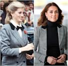 Princess Diana during a visit to Barnardo's Charity in 1984; Kate Middleton wearing a Smythe blazer at Coach Core in Essex in 2018