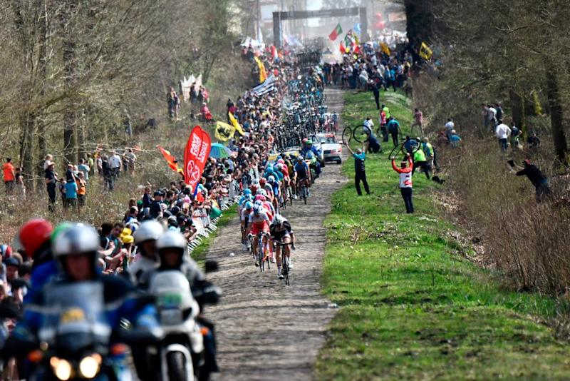 Cyclists compete during the 116th edition of the ParisRoubaix oneday classic cycling race between Compiegne and Roubaix on April 8 2018 at the Trouee dArenberg stage near Wallers northern France AFP PHOTO JEFF PACHOUD Photo credit should read JEFF PACHOUDAFP via Getty Images