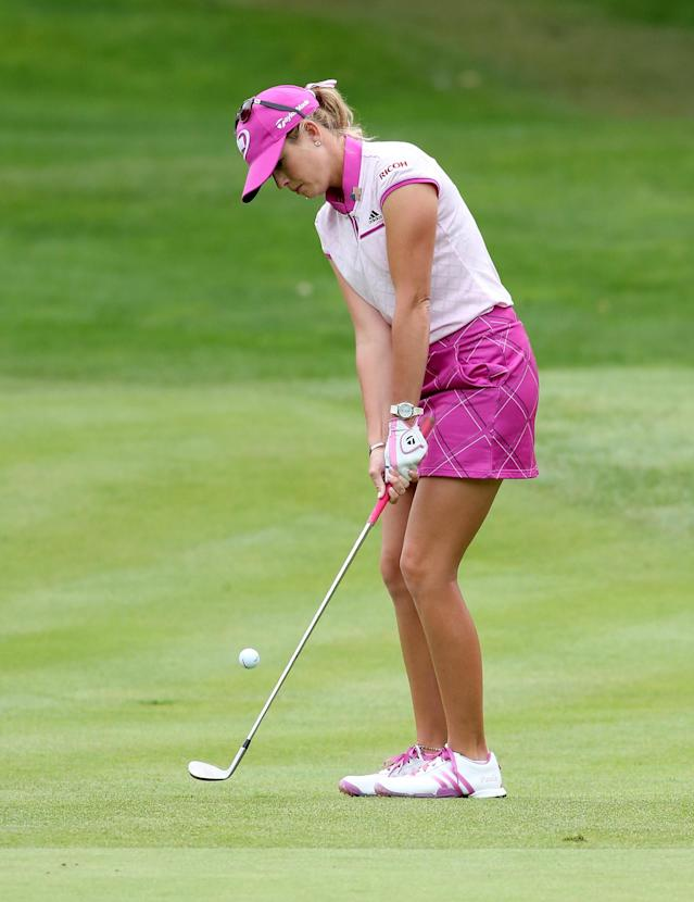 EDMONTON, AB - AUGUST 25: Paula Creamer chips onto the green on the fourth hole during the final round of the CN Canadian Women's Open at Royal Mayfair Golf Club on August 25, 2013 in Edmonton, Alberta, Canada. (Photo by Stephen Dunn/Getty Images)