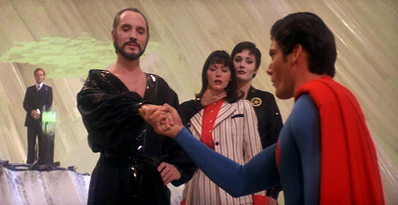 Superman, Zod, Lois Lane, Ursa, and Lex Luthor in Superman II