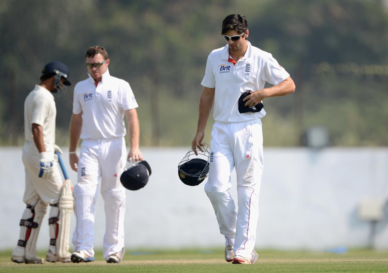 AHMEDABAD, INDIA - NOVEMBER 10:  England captain Alastair Cook during day three of the tour match between England and Haryana at Sardar Patel Stadium ground B on November 10, 2012 in Ahmedabad, India.  (Photo by Gareth Copley/Getty Images)