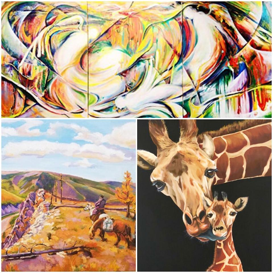 Art pieces: (Clockwise from top) Mahler's Fifth Symphony - Trio Of The Rondo (Triptych) by Chan Kwok Tung, Love from Above by Erica Wee and The Way Home by Byamba