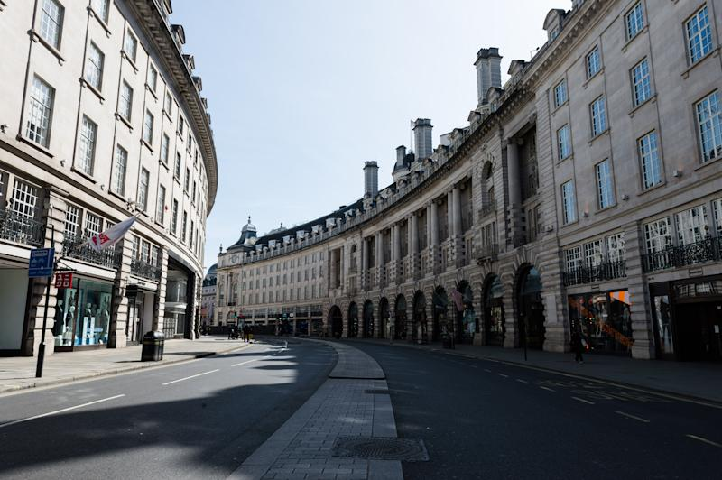 A view of an empty Regent Street in central London as the UK's nationwide lockdown continues with the aim to slow down the spread of the Coronavirus disease on 07 April, 2020 in London, England. According to data published yesterday by the Department of Health and Social Care, the total number of people who tested positive for Covid-19 in the UK increased to 51,608 while the hospital death toll rose to 5,373. (Photo by WIktor Szymanowicz/NurPhoto via Getty Images)