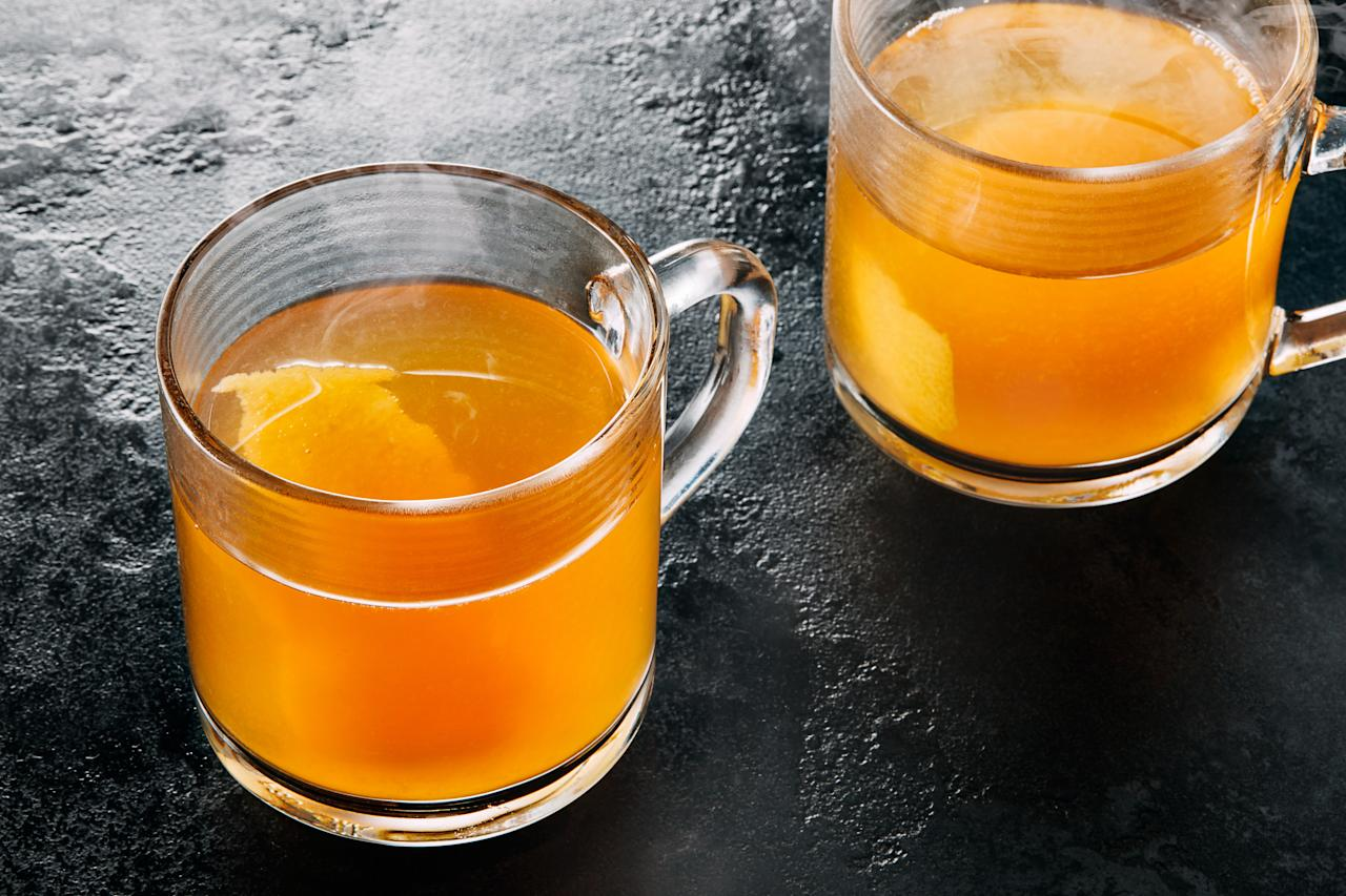"""Brewed tea is an easy way to infuse complex flavors into warming winter cocktails. This libation uses two tea bags for a double-strength brew. <a href=""""https://www.epicurious.com/recipes/food/views/the-maple-ginger-hot-toddy?mbid=synd_yahoo_rss"""">See recipe.</a>"""