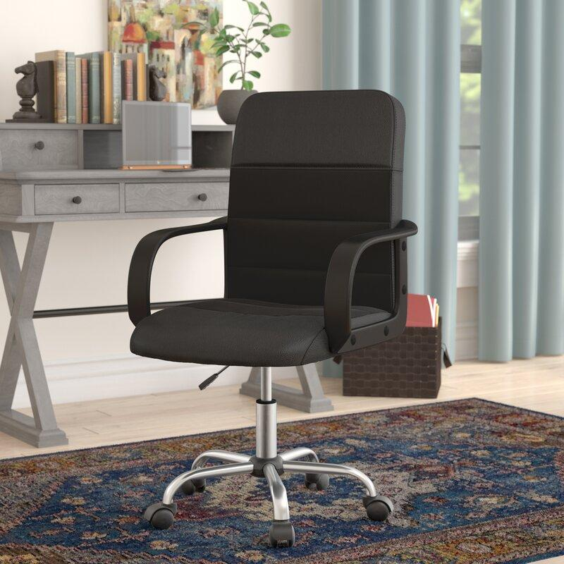 Mid-Back Black LeatherSoft and Mesh Swivel Task Office Chair. Image via Wayfair.
