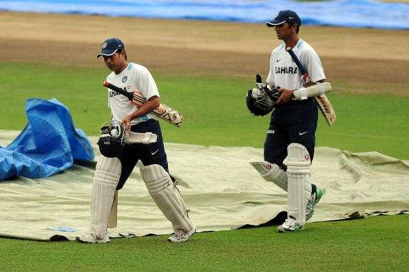 BANGALORE, INDIA - OCTOBER 07: Sachin Tendulkar (L) and Rahul Dravid of India walk towards the net during an Indian nets session at M. Chinnaswamy Stadium on October 7, 2010 in Bangalore, India. (Photo by Pal Pillai/Getty Images)