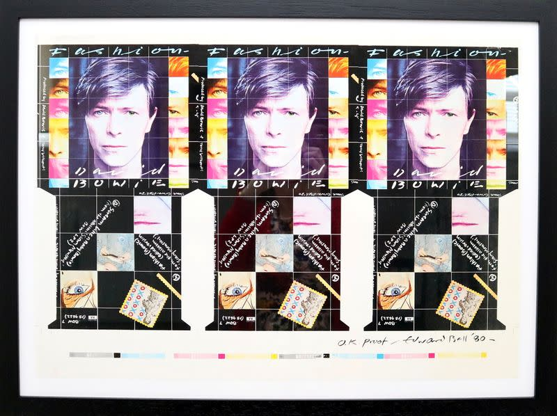 """A handout photo of David Bowie's """"Fashion"""" single design created by British Contemporary artist Edward Bell"""