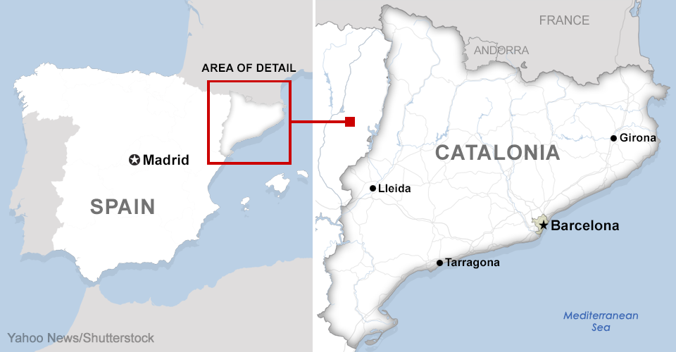 Map of Spain showing a detail of Catalonia. (Photo: Yahoo News/Shutterstock)